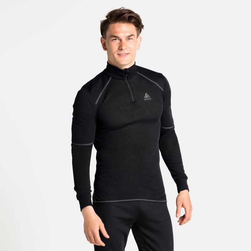 Men's ACTIVE X-WARM ECO Half-Zip Turtleneck Base Layer Top, black, large