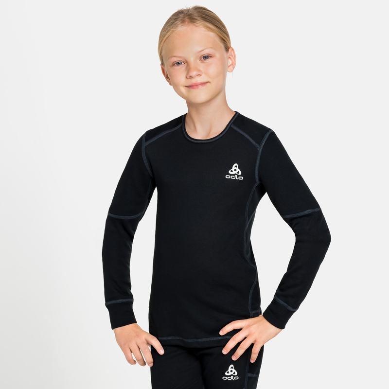 ACTIVE X-WARM ECO KIDS Long-Sleeve Base Layer Top, black, large