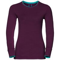 Natural 100 Merino Warm baselayer shirt women, pickled beet - blue radiance, large