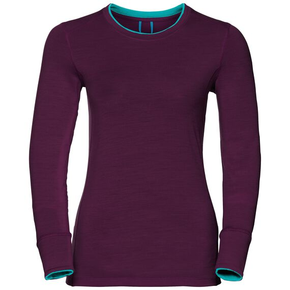 Natural 100 Merino Warm baselayer shirt women, pickled beet - blue radiance, large