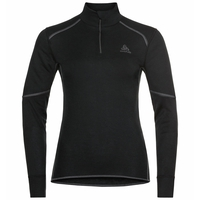 ACTIVE X-WARM ECO-basislaagtop met halve rits en col voor dames, black, large