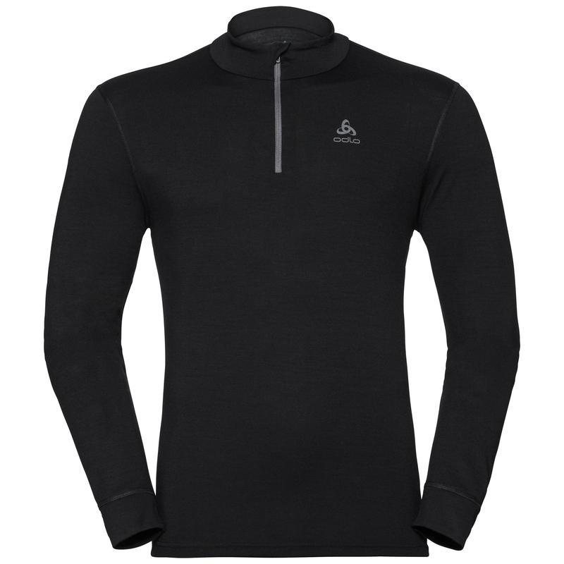 Herren NATURAL 100% MERINO WARM Funktionsunterwäsche Langarm-Shirt mit 1/2 Reißverschluss & Stehkragen, black - black, large