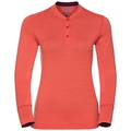 Natural 100 Merino Warm baselayer shirt stand-up collar women, hot coral - pickled beet, large