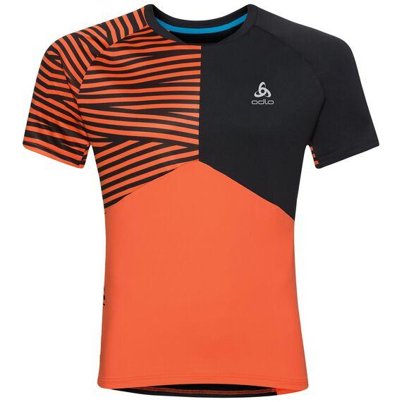 Shirt s/s crew neck MORZINE, flame - black, large