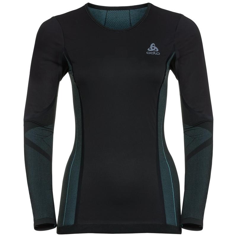 Damen WINDSHIELD Funktionsunterwäsche Langarm-Shirt, black - blue radiance, large