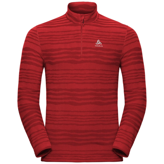 Men's ALBULA 1/2 Zip Midlayer, fiery red - syrah - AOP FW18, large