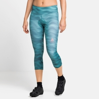Damen ZEROWEIGHT PRINT 3/4-Radhose, jaded - graphic SS21, large