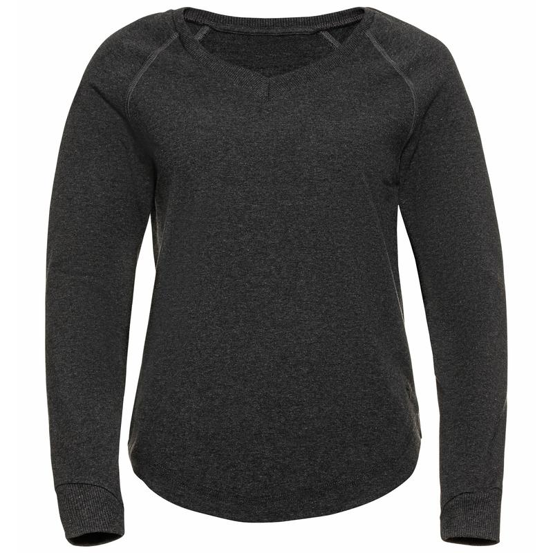 Women's ALMA NATURAL Mid Layer Top, dark grey melange, large