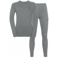 NATURAL 100% MERINO WARM Funktionsunterwäsche Set KIDS, grey melange - grey melange, large