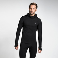Men's ACTIVE WARM Long-Sleeve Base Layer Top with Face Mask, black, large