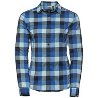 KUMANO CHECK Langarm Bluse, energy blue - diving navy - nile blue - check, large