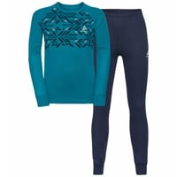 Kid's WINTER SPECIALS ACTIVE WARM ECO Baselayer Set, tumultuous sea graphic FW20 - diving navy, large