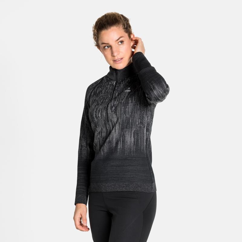 Damen BLACKCOMB Mid Layer Oberteil mit ½ Reißverschluss, odlo graphite grey - black, large