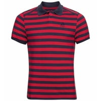 Men's CONCORD Polo Shirt, chinese red - diving navy - stripes, large