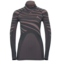 Women's BLACKCOMB Long-Sleeve Base Layer Top with Face Mask, odyssey gray - mesa rose, large