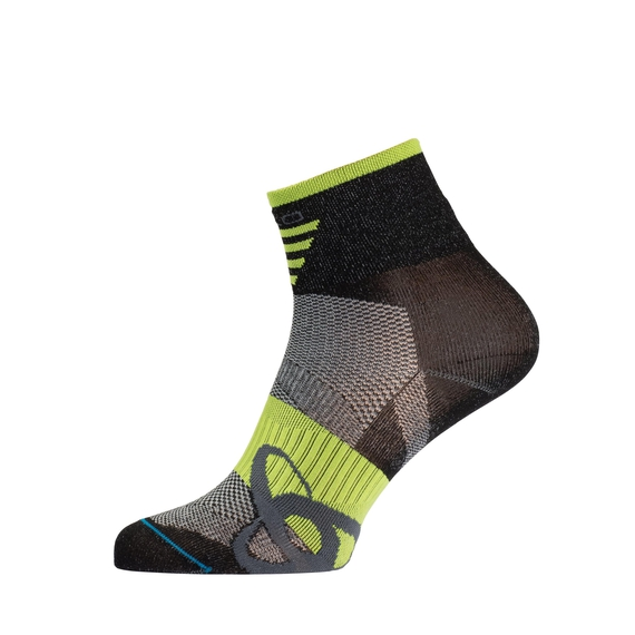 Socks short MID Light, black - acid lime, large