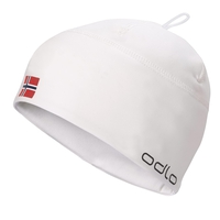 Bonnet POLYKNIT FAN WARM, white - NORWEGIAN flag, large