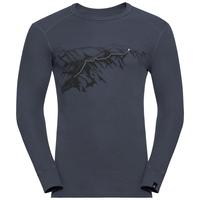 Herren ACTIVE WARM PRINT Funktionsunterwäsche Langarm-Shirt, india ink, large