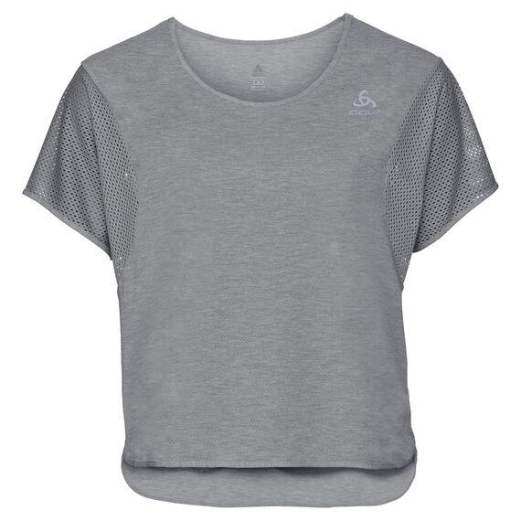 BL TOP Cropped shirt met ronde hals s/s MAIA, grey melange, large