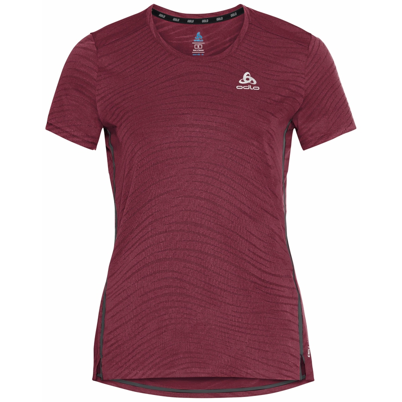 Women's ZEROWEIGHT ENGINEERED CHILL-TEC Running T-Shirt, deep claret melange, large