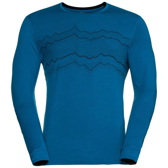 Shirt l/s crew neck NATURAL 100% MERINO PRINT WARM, mykonos blue - black, large