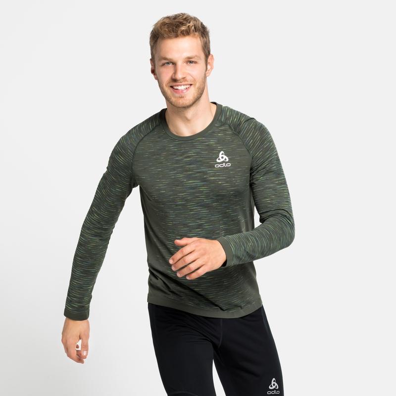 Men's BLACKCOMB CERAMICOOL Running Long-Sleeve T-Shirt, climbing ivy - space dye, large