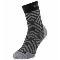 UNISEX CERAMICOOL HIKE GRAPHIC Micro Crew Socks, black - odlo steel grey, large