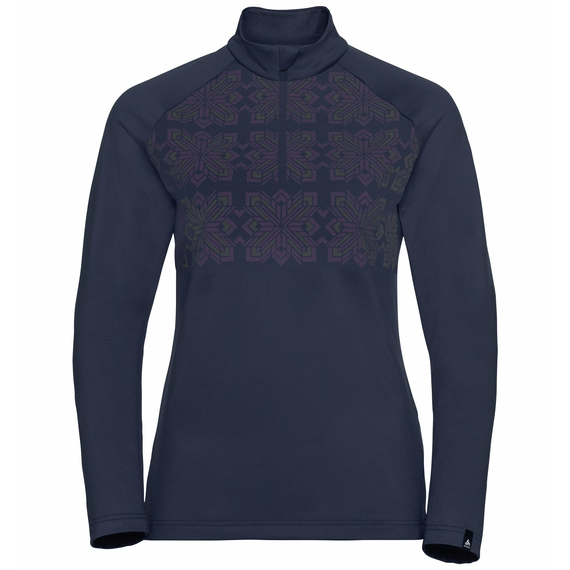 Women's PAZOLA RIBBON Half-Zip Midlayer Top, diving navy - graphic FW20, large