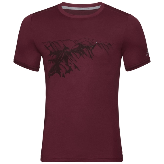 F-DRY PRINT Baselayer T-Shirt, zinfandel - mountain print SS19, large