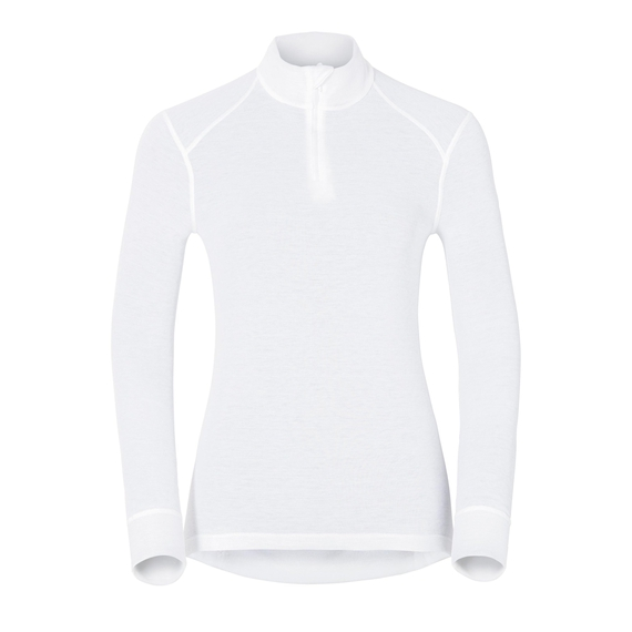 Women's ACTIVE WARM 1/2 Zip Turtle-Neck Long-Sleeve Base Layer Top, white, large
