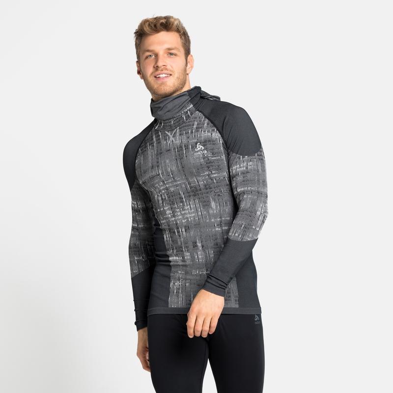 Herren BLACKCOMB Base Layer Shirt mit Kapuze, black, large