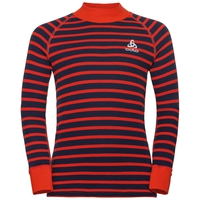 Sous-vêtement technique T-shirt manches longues et col montant ACTIVE WARM KIDS, poinciana - diving navy - stripes, large