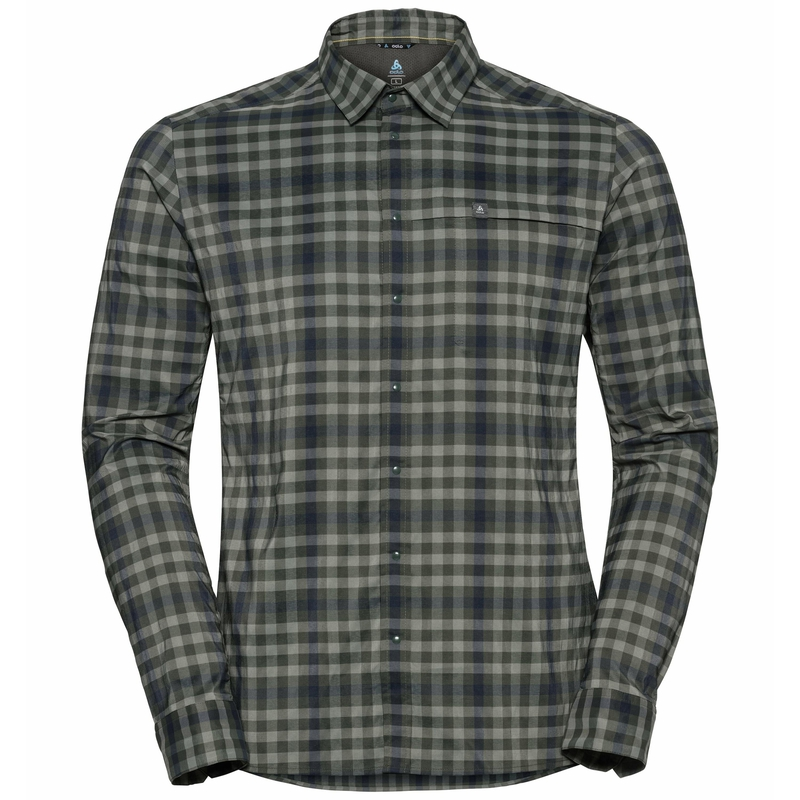 Men's FAIRVIEW Long-Sleeve Shirt, climbing ivy - agave green - diving navy - check, large