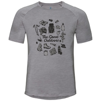 CONCORD Baselayer T-Shirt, grey melange - great outdoors print SS19, large