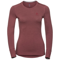 Women's NATURAL 100% MERINO WARM Long-Sleeve Base Layer Top, roan rouge - grey melange, large