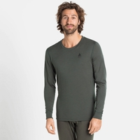 Men's NATURAL 100% MERINO WARM Long-Sleeve Base Layer Top, climbing ivy, large