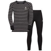 Active Originals Warm KIDS Set, black - grey melange - stripes, large