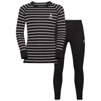 ACTIVE WARM KIDS Funktionsunterwäsche Set, black - grey melange - stripes, large