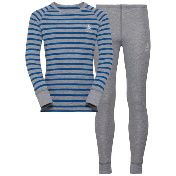 Set ACTIVE ORIGINALS Warm Kids, grey melange - energy blue - stripes, large