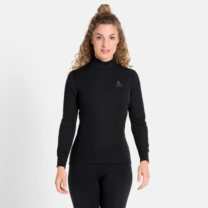 Women's ACTIVE WARM ECO Turtleneck Base Layer Top, black, large