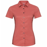 Camicia a manica corta Kumano Check da donna, hot coral - odlo concrete grey - check, large