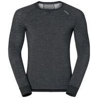 SUW Top Crew neck l/s Natural + X-Warm, black melange, large