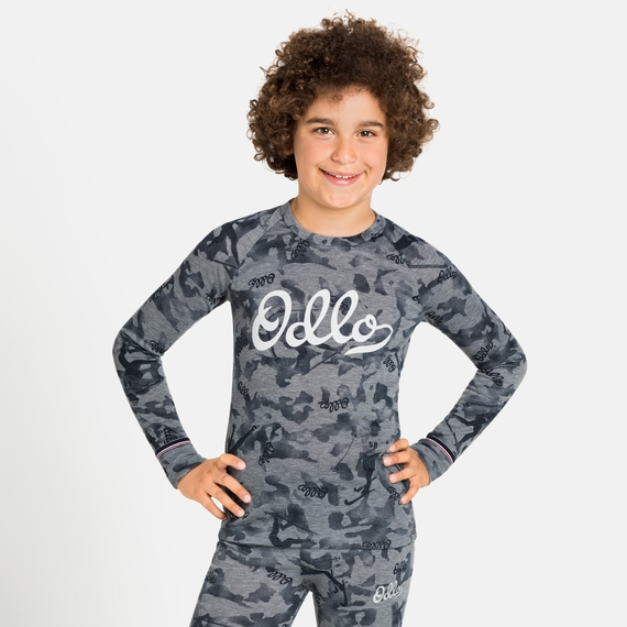 ACTIVE WARM ORIGINALS ECO KIDS Long-Sleeve Baselayer Top, grey melange - graphic FW20, large