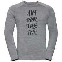 Men's ALLIANCE Long-Sleeve Top, grey melange - aim print FW19, large