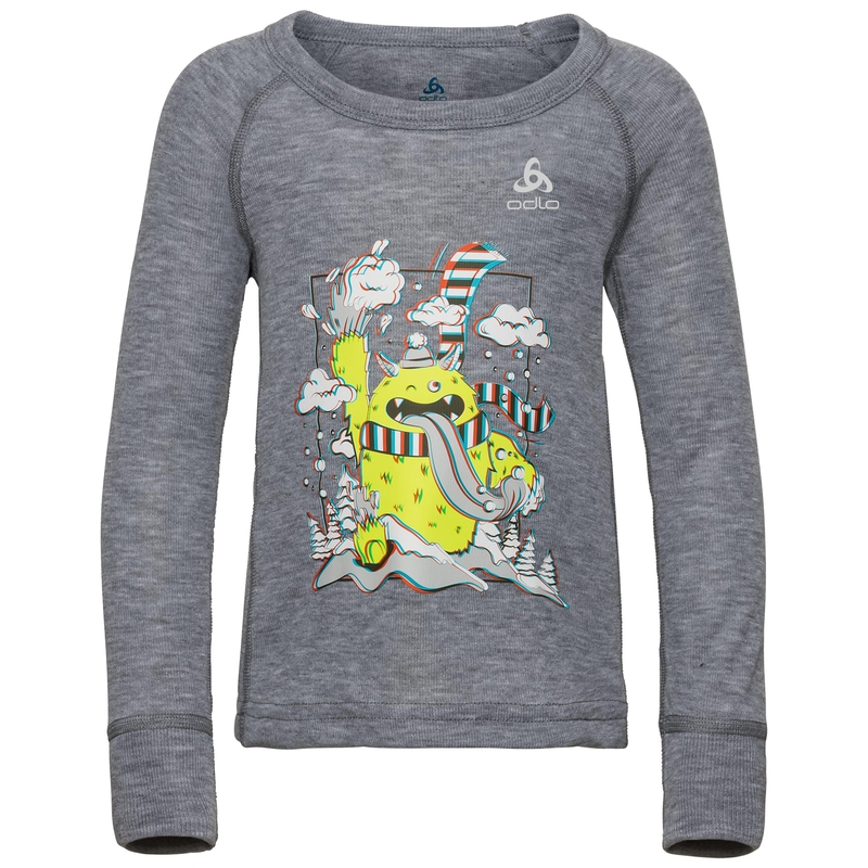 ACTIVE WARM TREND KIDS (SMALL) Funktionsunterwäsche Langarm-Shirt, grey melange - placed print FW19, large