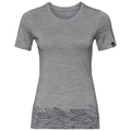 Women's ALLIANCE T-Shirt, grey melange - leaves on waist print SS19, large