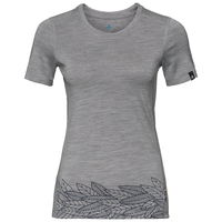 T-shirt ALLIANCE da donna, grey melange - leaves on waist print SS19, large