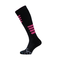 Socks extra long SKI WARM, black - beetroot purple, large