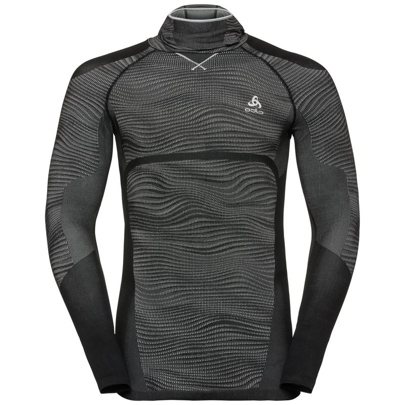 Herren BLACKCOMB Funktionsunterwäsche Langarm-Shirt mit Gesichtsmaske, black - odlo concrete grey - silver, large