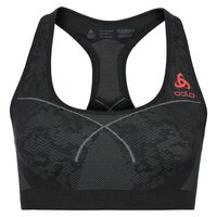Sports Bra Seamless MEDIUM, black - odlo concrete grey - hot coral, large